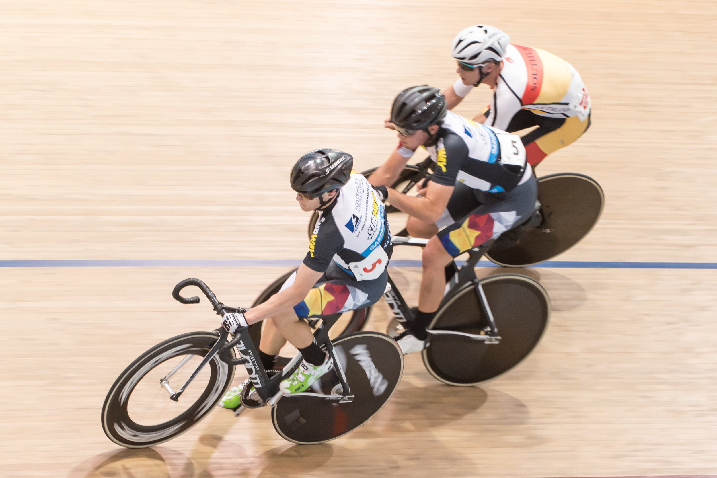 CAPTION: Otago and Southland Performance Hub riders Corbin Strong and Josh Scott in the madison during the Vantage National Track Championships in Invercargill last year. (Credit: Eugene Bonthuys)