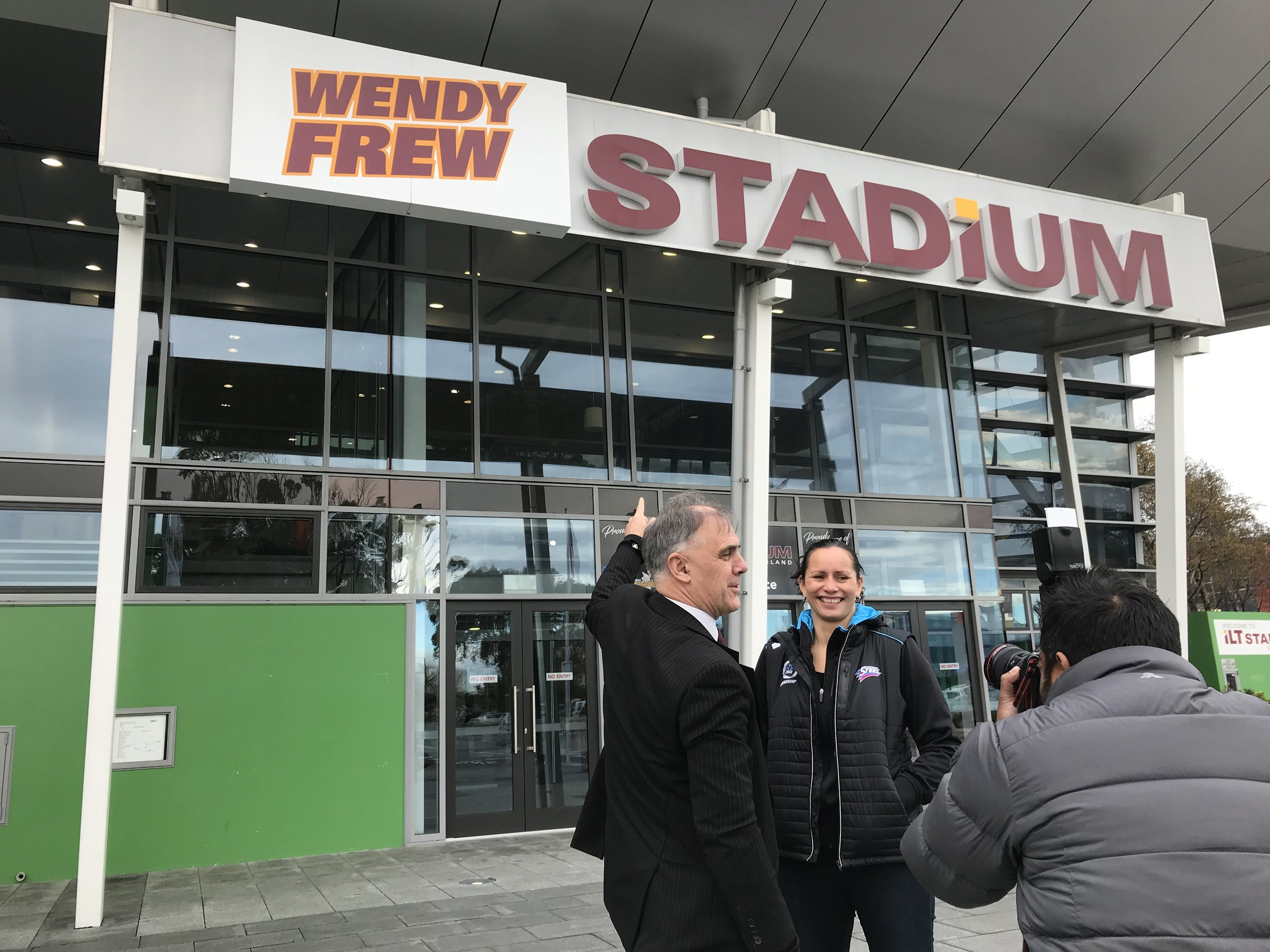 Photo: ILT Stadium Southland general manager Nigel Skelt and Ascot Park Hotel Southern Steel coach Reinga Bloxham unveiling Wendy Frew Stadium. Pic: Nathan Burdon
