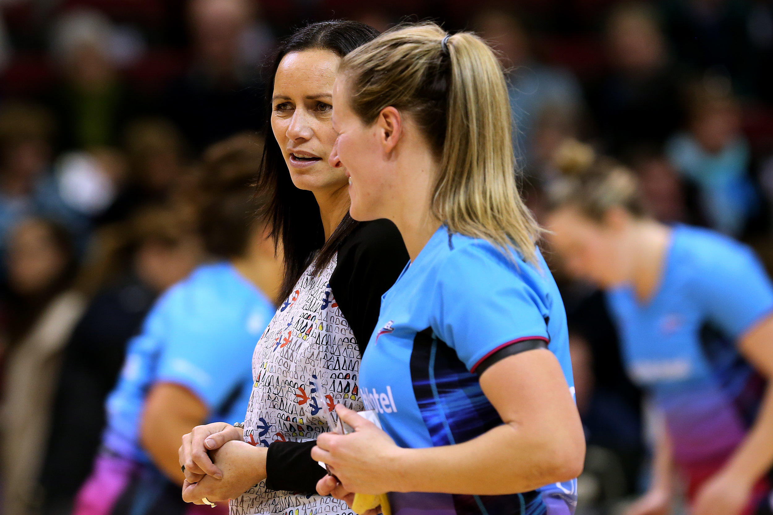Photo: Southern Steel coach Reinga Bloxham and captain Wendy Frew. Pic: Michael Donaldson Photography/Dianne Manson