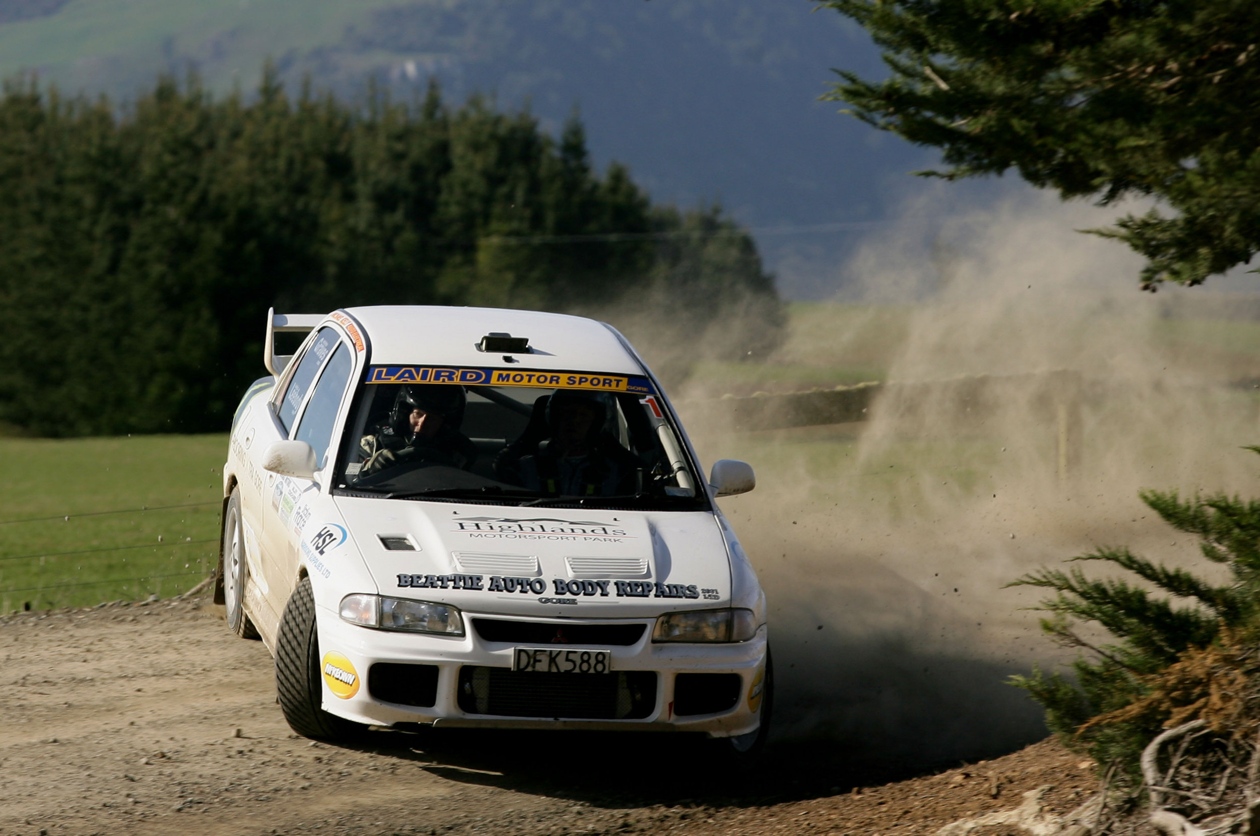 Photo: Defending champions Andrew Graves/Jared Leebody on their way to another Catlins Coast Rally victory in their Mitsubishi EVO 3. Pic: Terry Marshall/ Euan Cameron Photography