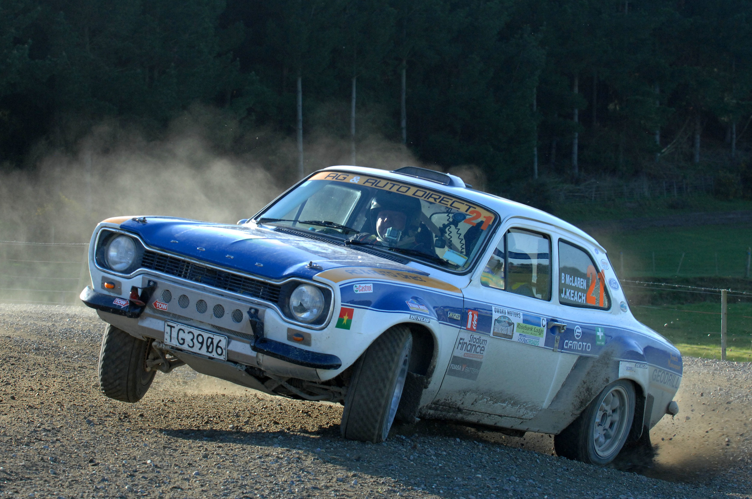 Photo: Jason Keach/Blair McLaren of Mosgiel lift a wheel in their Ford Escort MKI RS2300 on their way to second in their Class C. Pic: Euan Cameron
