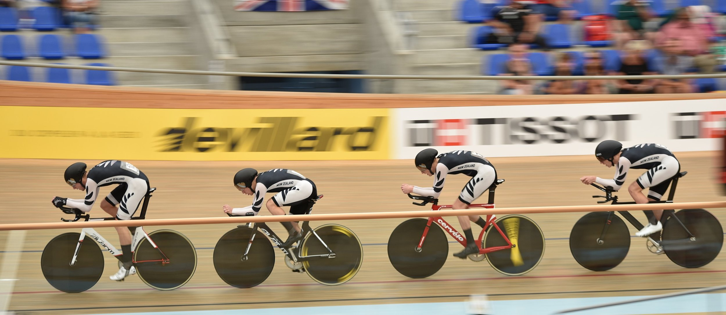 Photo: The New Zealand men's team pursuit in action. Pic:©klementdesign – UCI