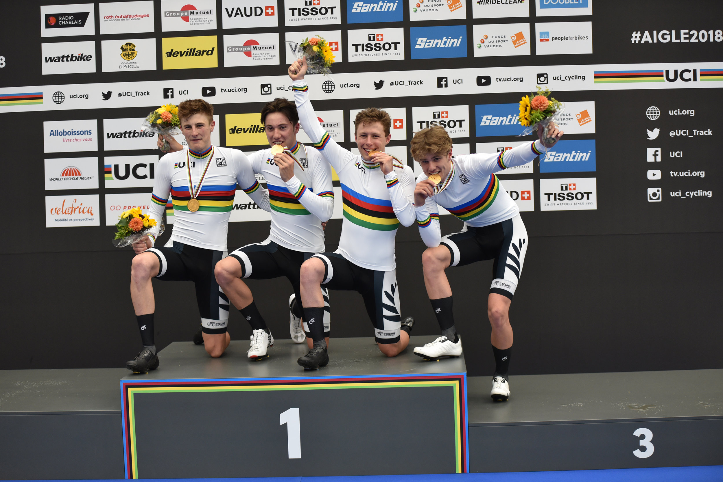 Photo: The New Zealand men's team pursuit on the podium and in action along with the women's team pursuit. Pic:©klementdesign – UCI