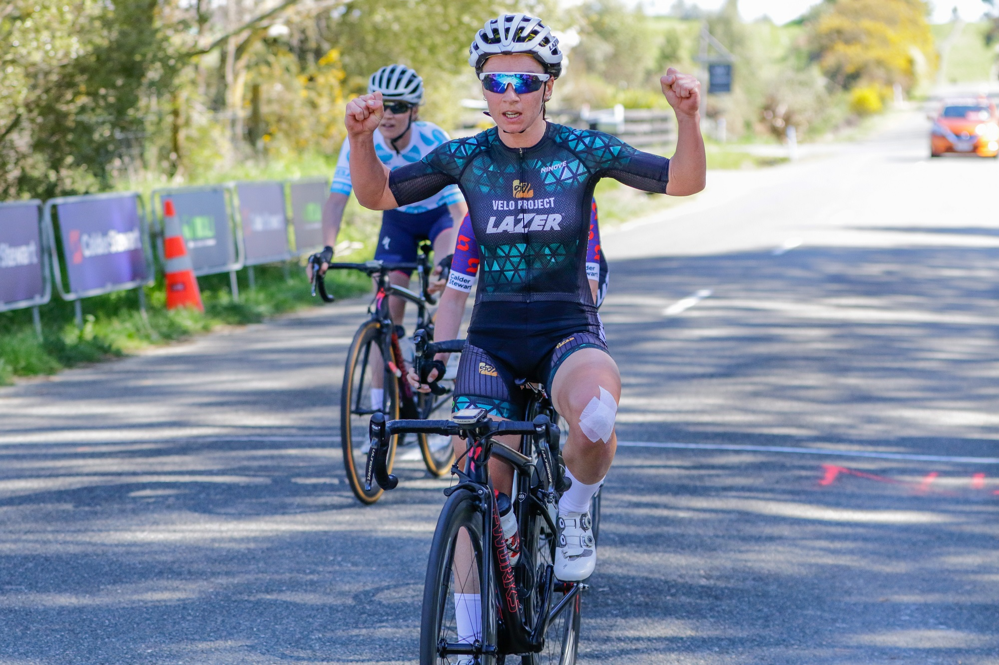Photo: Oceania women's' road race champion Sharlotte Lucas wins the fifth round of the Calder Stewart Cycling Series in Nelson today. Pic: rickoshayphotos