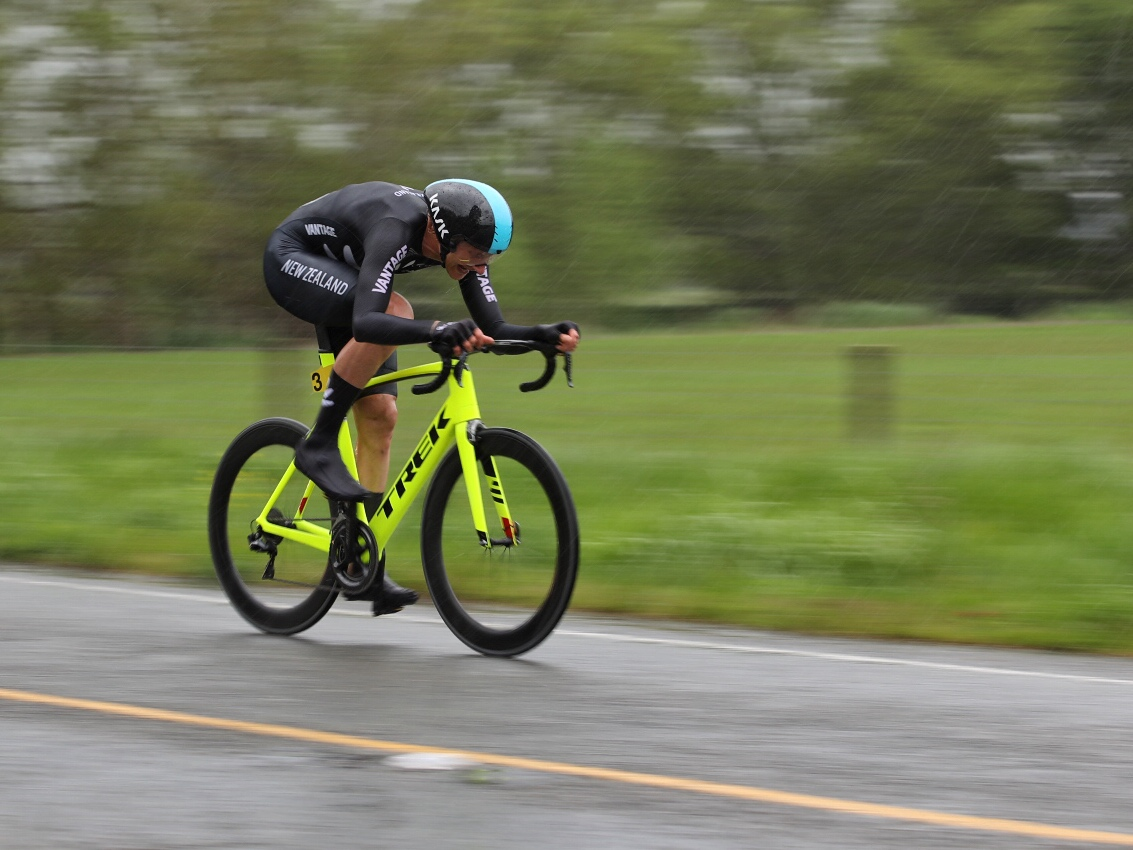 Photo: National time trial champion Hamish Bond on the way to winning the 13km individual time trial at Winton. Pic: James Jubb/Studio Jubb
