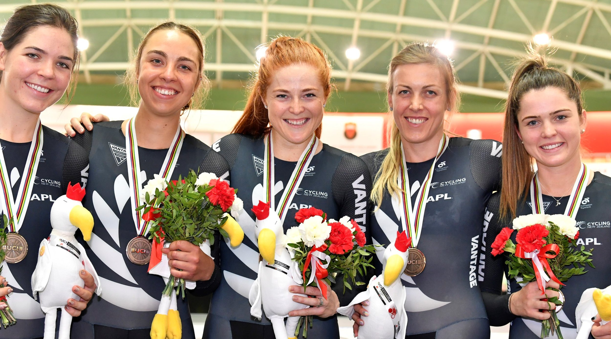Photo: New Zealand women's team pursuit, including Kirstie James (centre). Pic: Guy Swarbrick