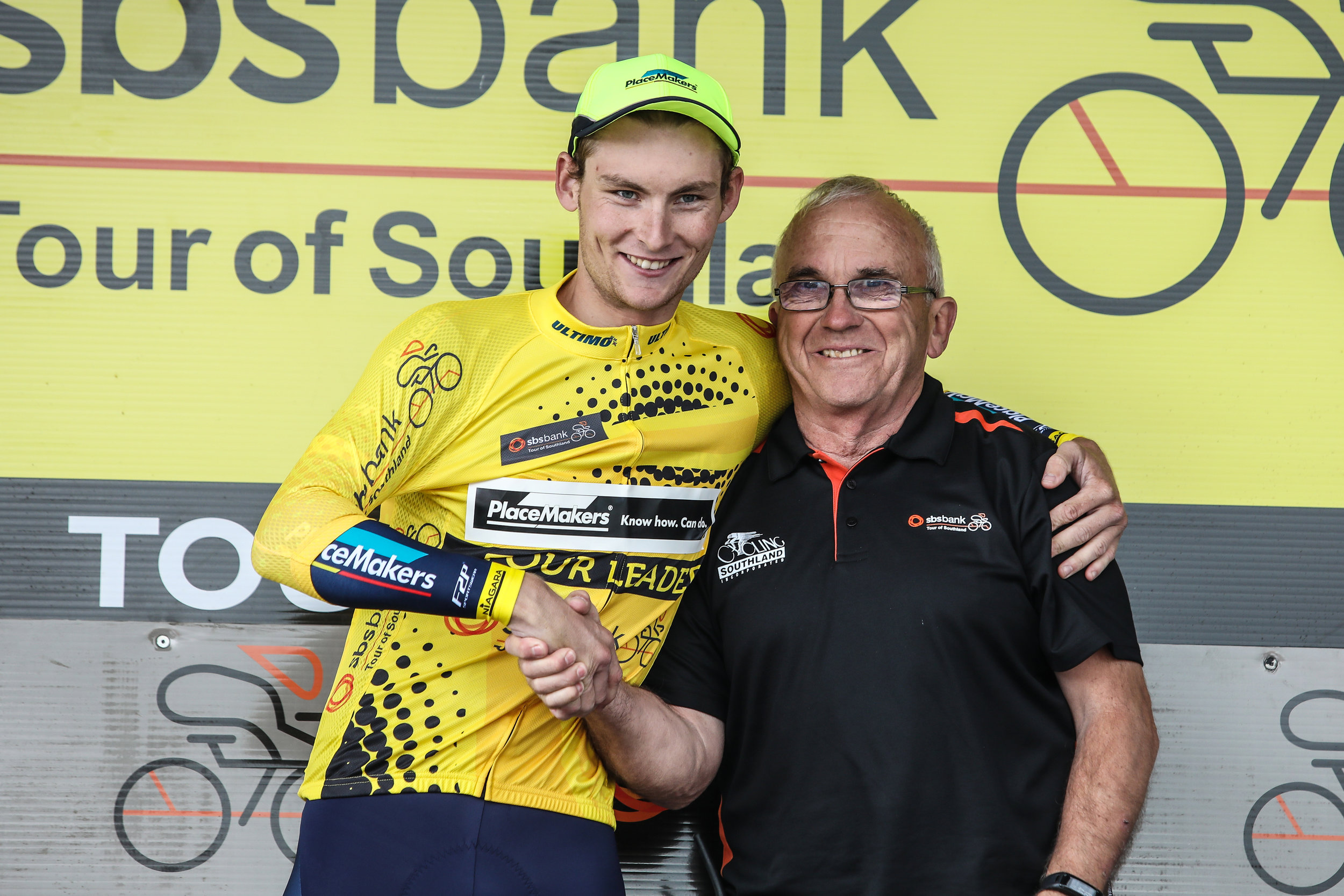 Photo: Top Southland rider Matt Zenovich, left, and race director Bruce Ross. Pic: Cycling Southland