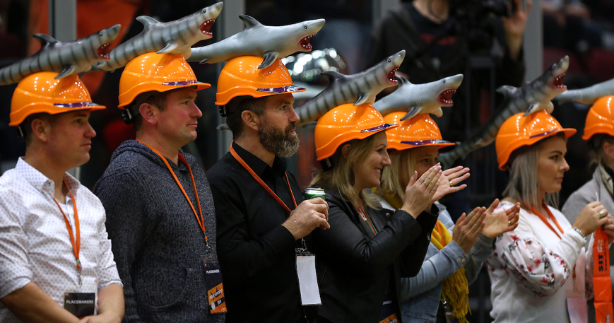 Photo: Fans of the Southland Sharks were happy to see a big win in the Shark Tank on Saturday night. Pic: Photosport NZ