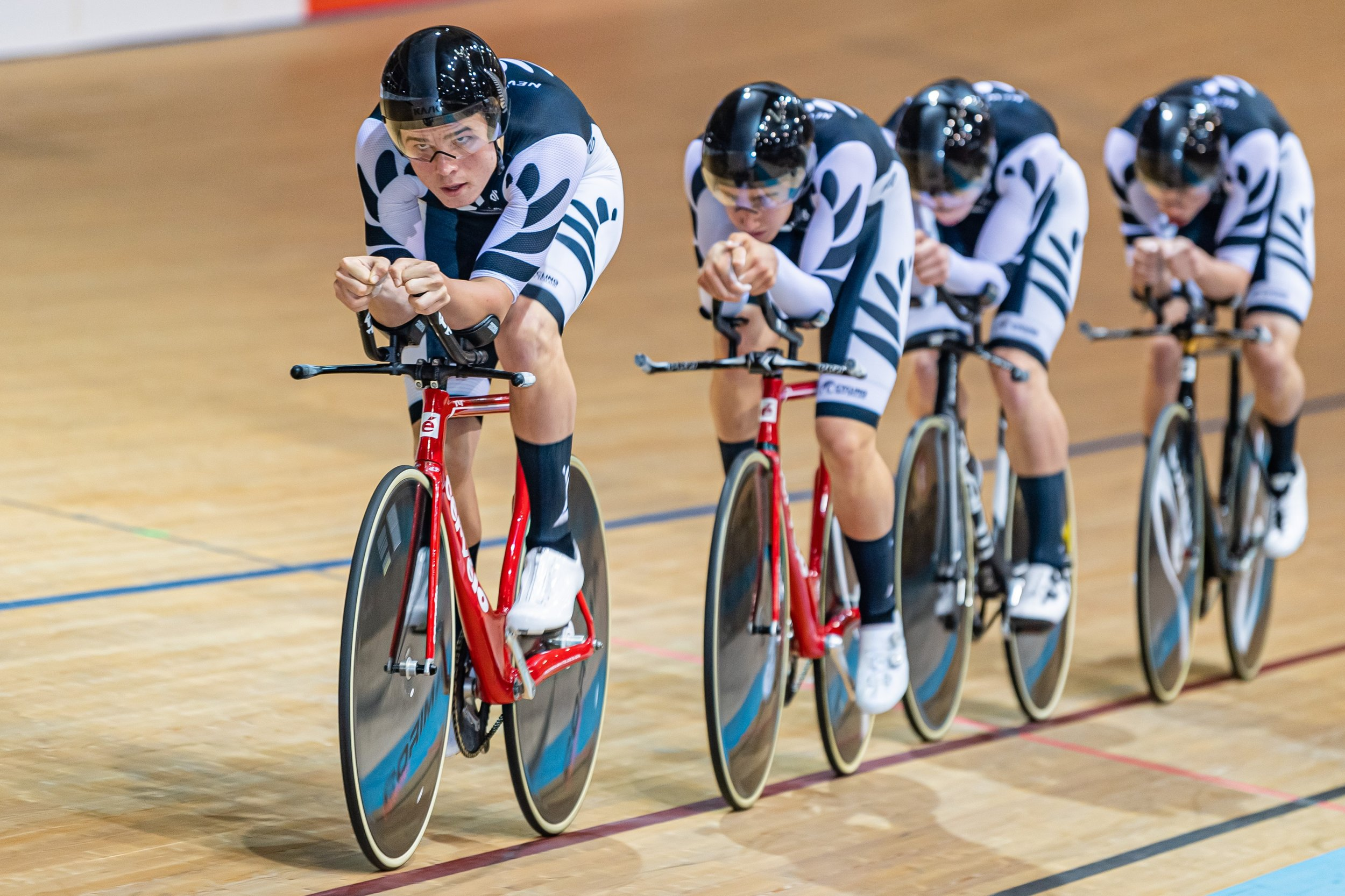 Photo: Lachie Dickson leads the New Zealand men's team pursuit. Pic: Guy Swarbrick