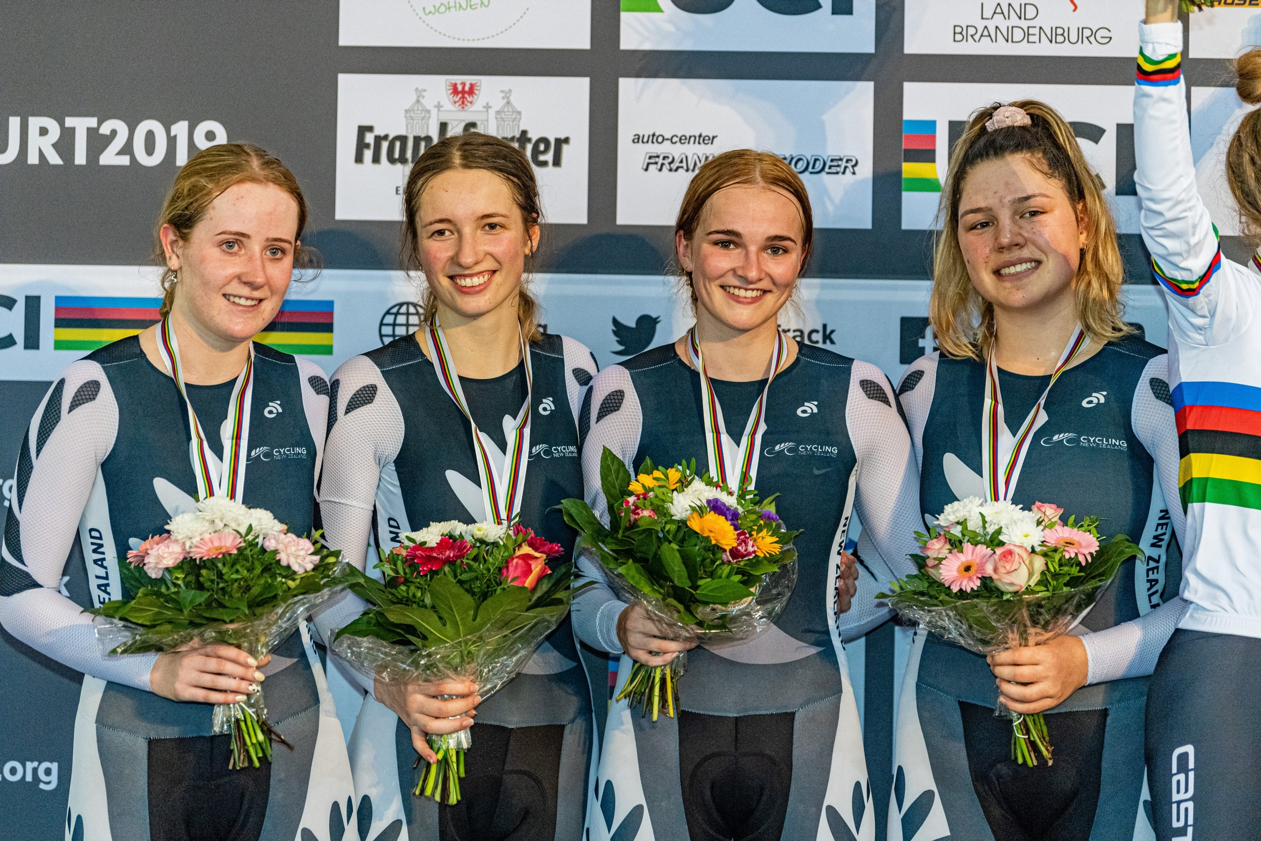 Photo: Southland's Emily Paterson, second from left, after winning silver at the UCI world junior track cycling championships. Pic: Guy Swarbrick
