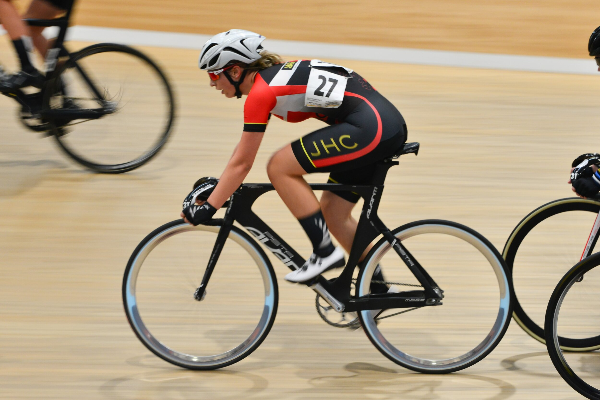 Photo: James Hargest College's Emily Paterson rides to victory in the under-20 girls grade at the Cycling New Zealand Schools National Track Championships. Pic: Eugene Bonthuys