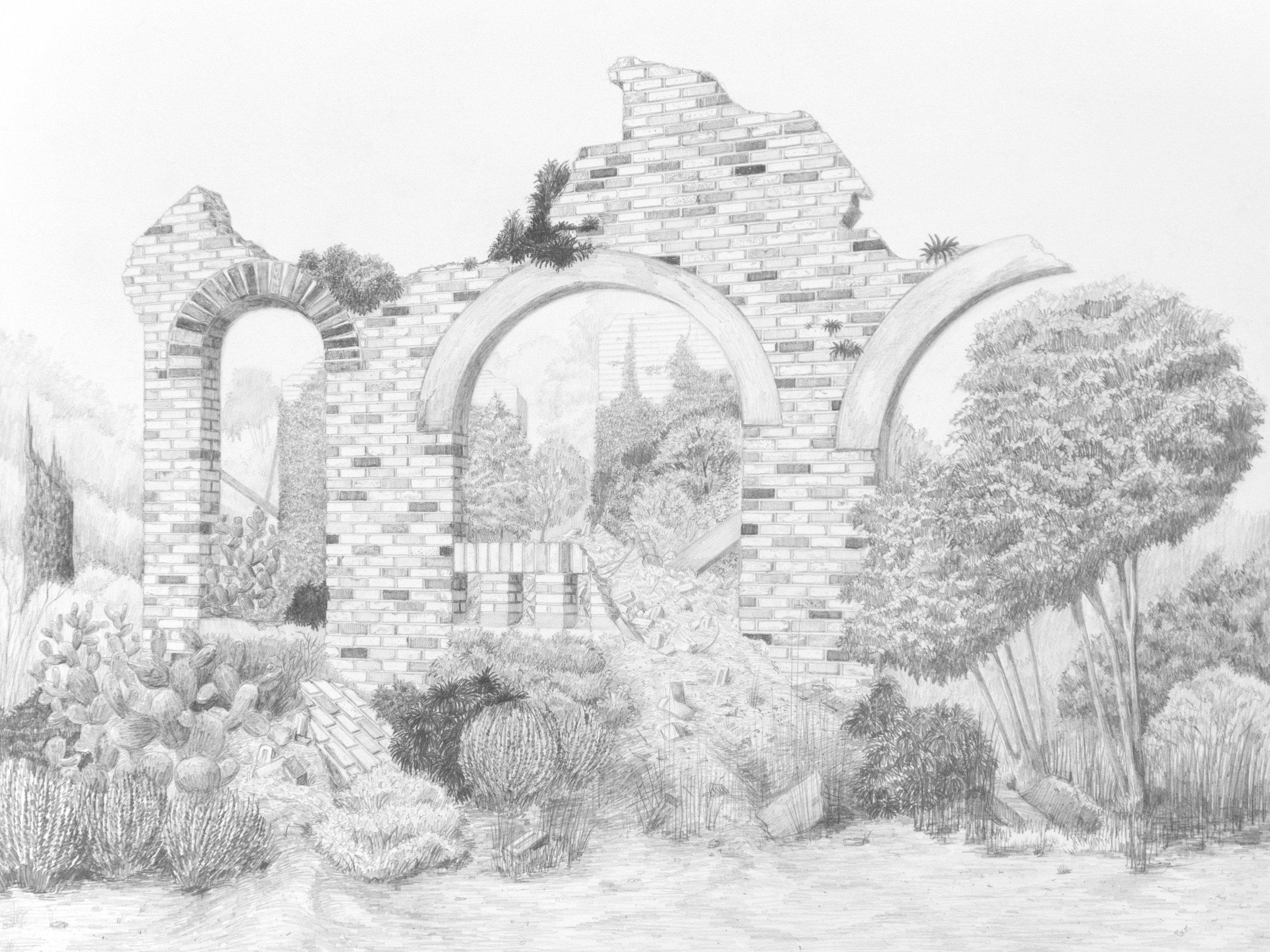 Bungalow Ruin, 2018, Graphite on paper, 18 x 24