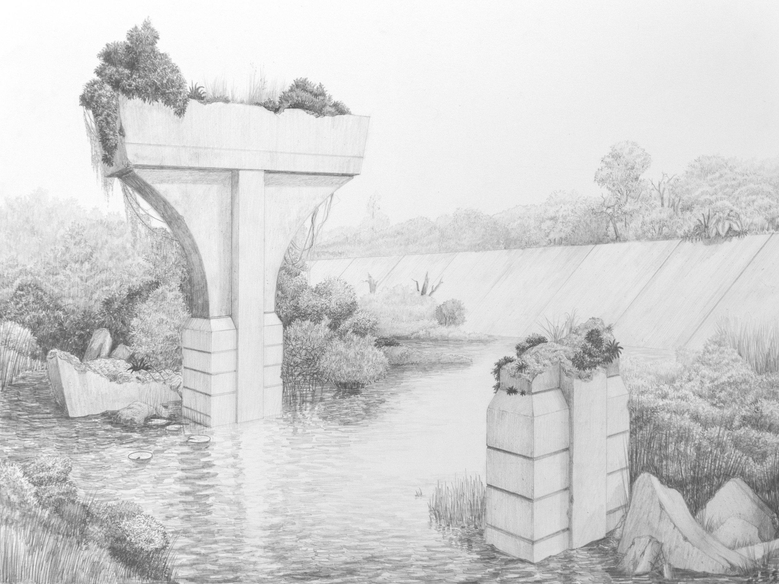 Freeway Ruin, 2018, Graphite on paper, 18 x 24
