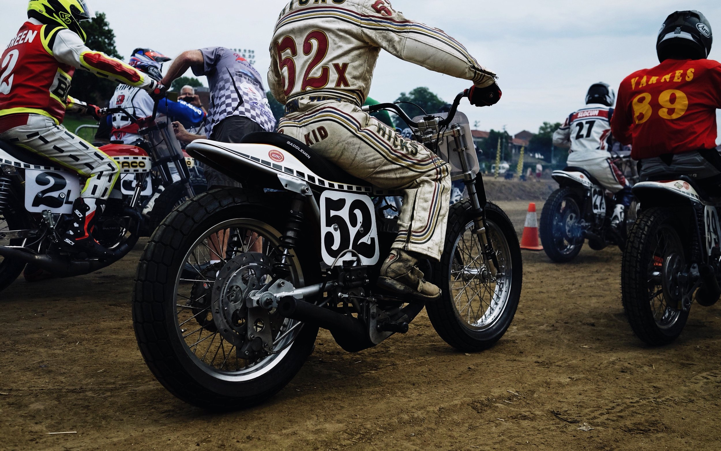 This is at Springfield's short track, two days before the main races. It's rare to see 12 Bultaco bikes at once on the same track. The Bultaco is a Spanish bike from the 60s and 70s.