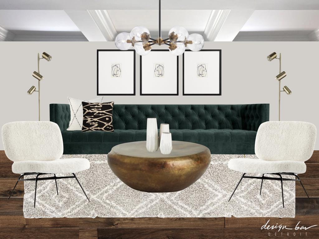 Design Bar Detroit Living Room Interior Collage