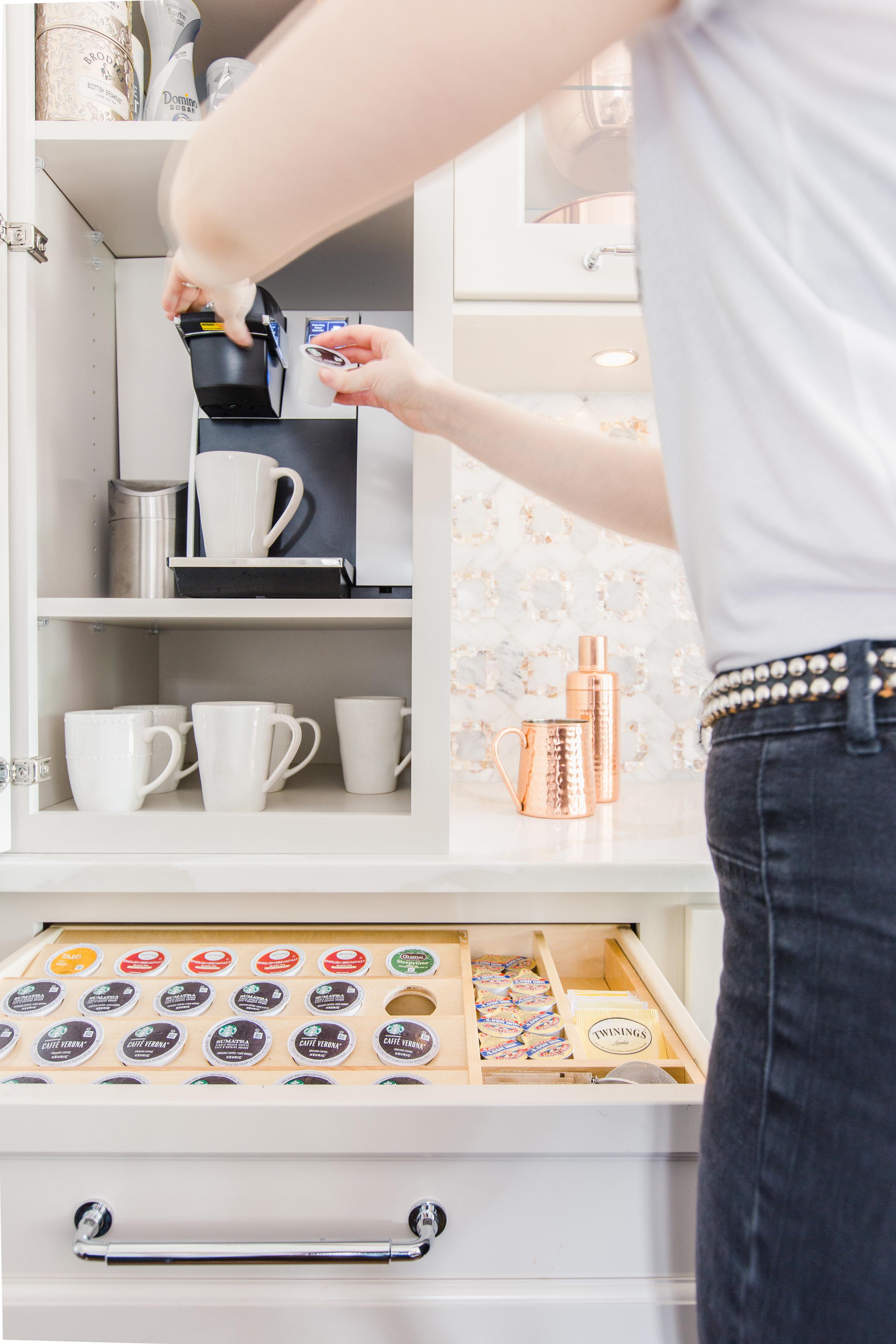 custom cabinetry coffee bar design michigan