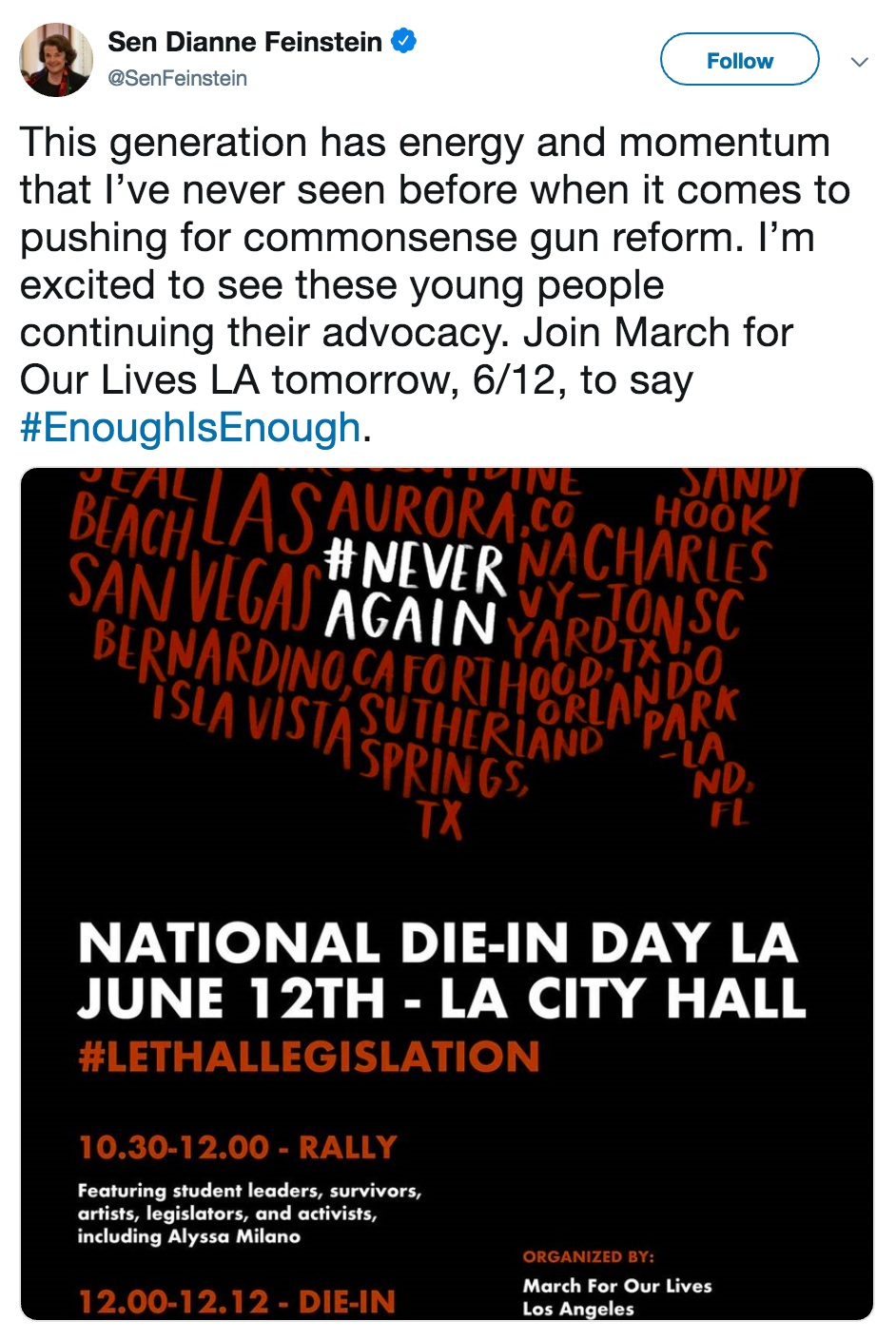 Sen. Feinstein shared her support for the die-in by retweeting the event poster.