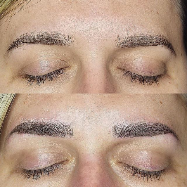 🖤 FIRST SESSION 🖤 I had soo much fun with these, making them fuller and giving them a more defined shape! @warhorsetattoo #berkeley #microblading #sarahrevisbrows