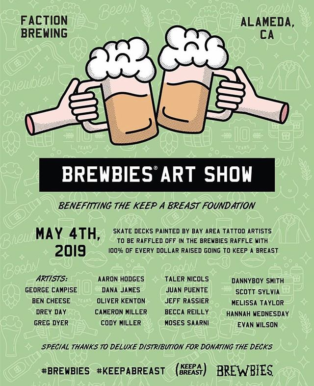 This Saturday drink beer and buy art raffled off for a great cause!!! 🍺💘 @brewbiesfest is Saturday, May 4th at @factionbrewing in Alameda, CA.  Tickets are almost sold out, check out brewbies.org and get em while you can!! 100% of net profits go to #keepabreast, and @alamedafoodbank will be there doing a canned food drive.  Everybody come!! @tacomonster and I will be there, enjoying our first reallll baby free outing!!! Get it #brewbies!!! ⚡️💖🍻
