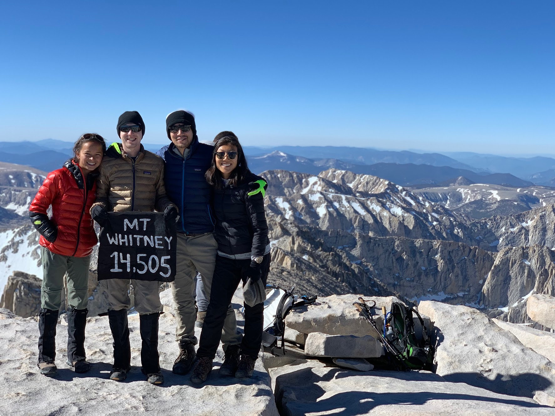 Summit photo left to right: Sophi, Nathan, Ray, Emily