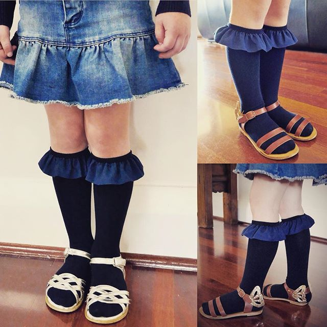 SALE!!! All items reduced! Knee high, with a gorgeous frill detail, our girls Navy Frill Socks are now just $5 a pair. Click link in bio to shop now  #girlsfashion #girlsaccessories #kneehighsocks #girlsfashion