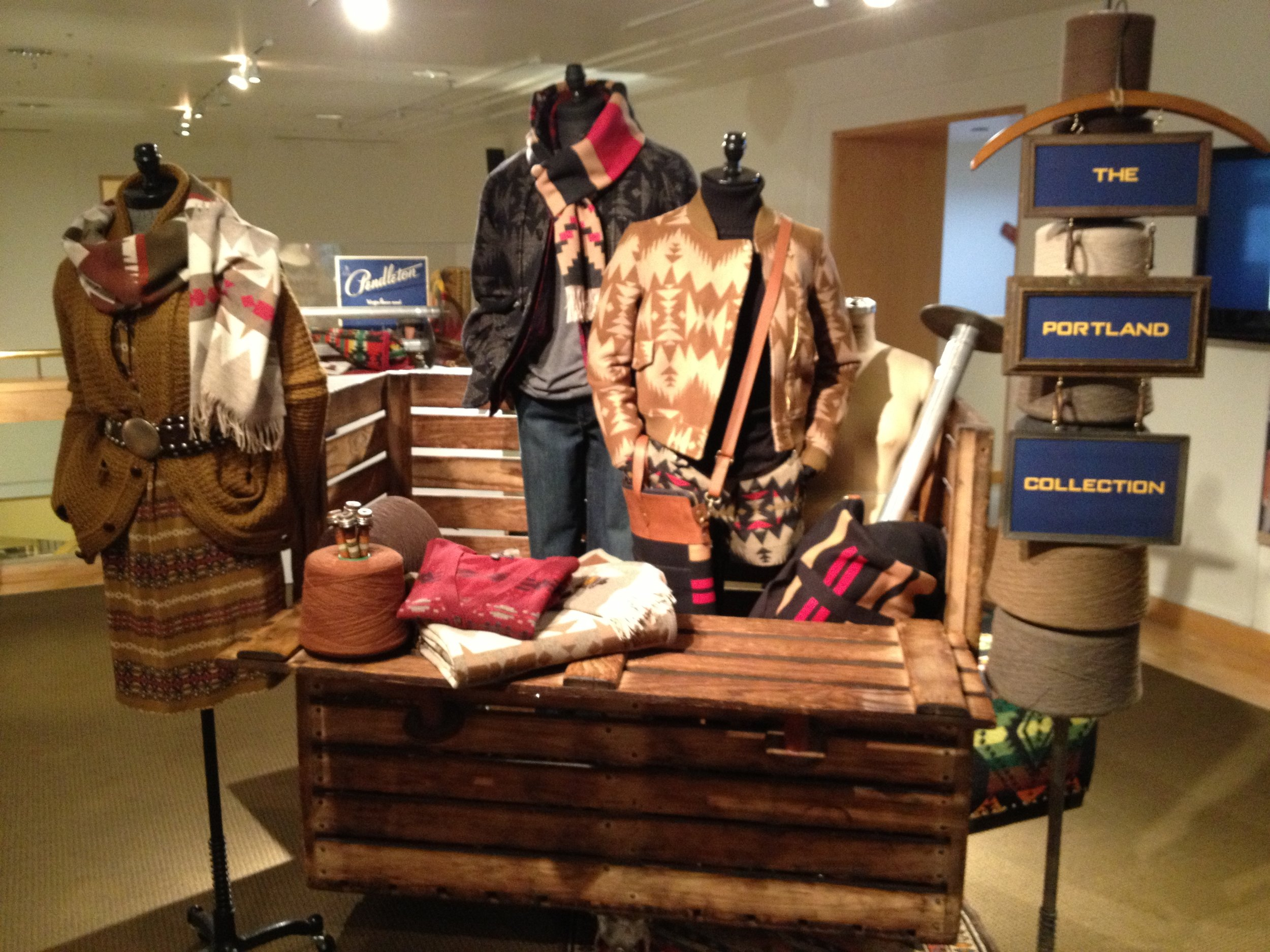 A BORROWED MILL CART WAS THE PERFECT STAGE FOR 'THE PORTLAND COLLECTION' VIGNETTE