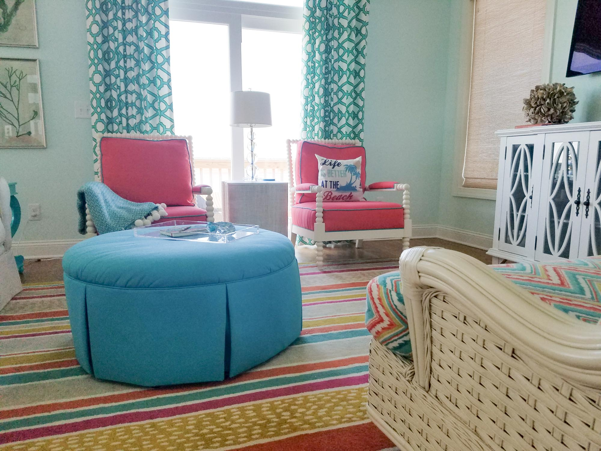 Living room with colored striped rug