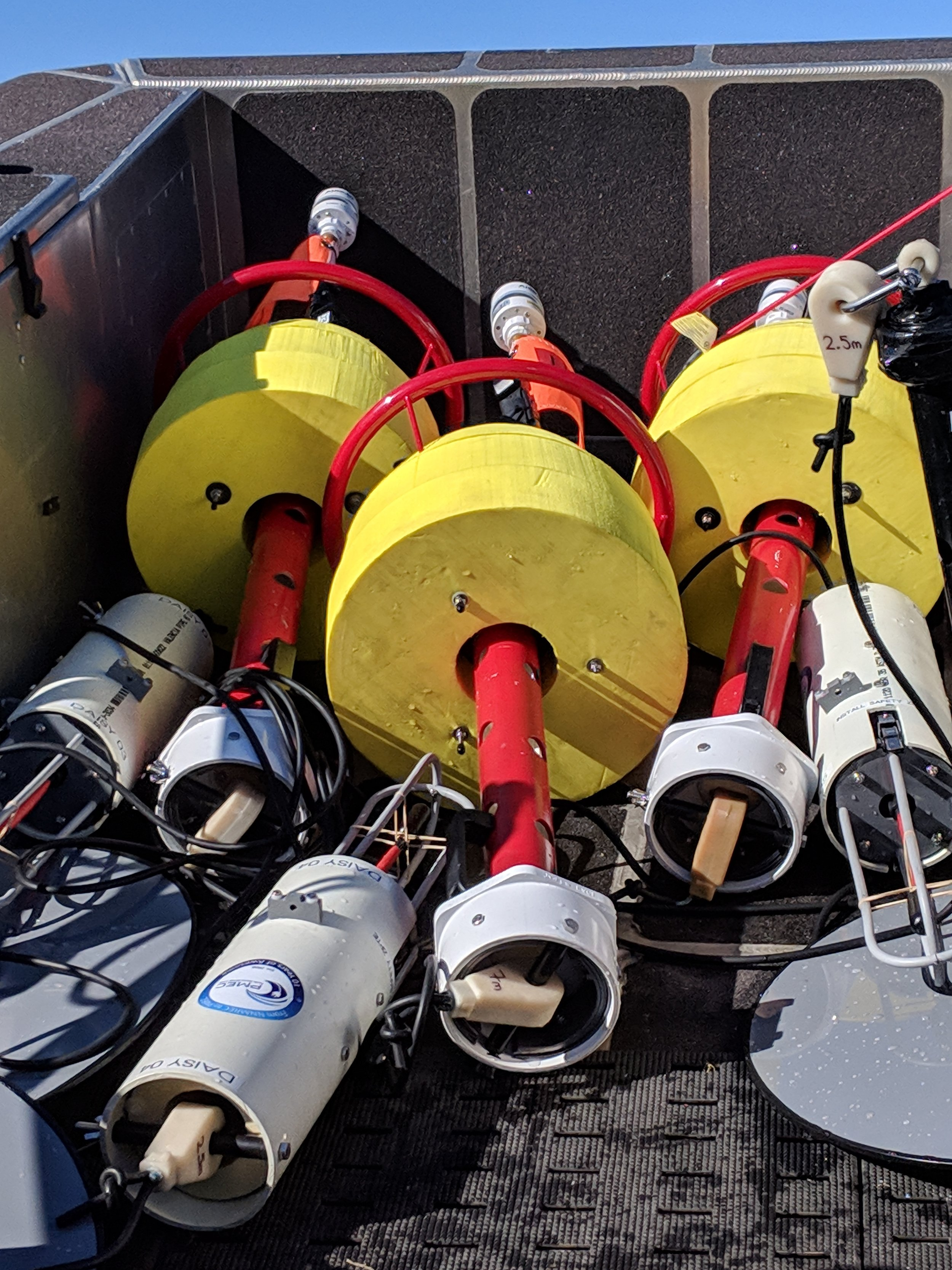 Prototype Drifting Acoustic Instrumentation SYstems (DAISYs) being tested at Pacific Northwest National Laboratory's    Marine Science Laboratory    in Sequim, WA.