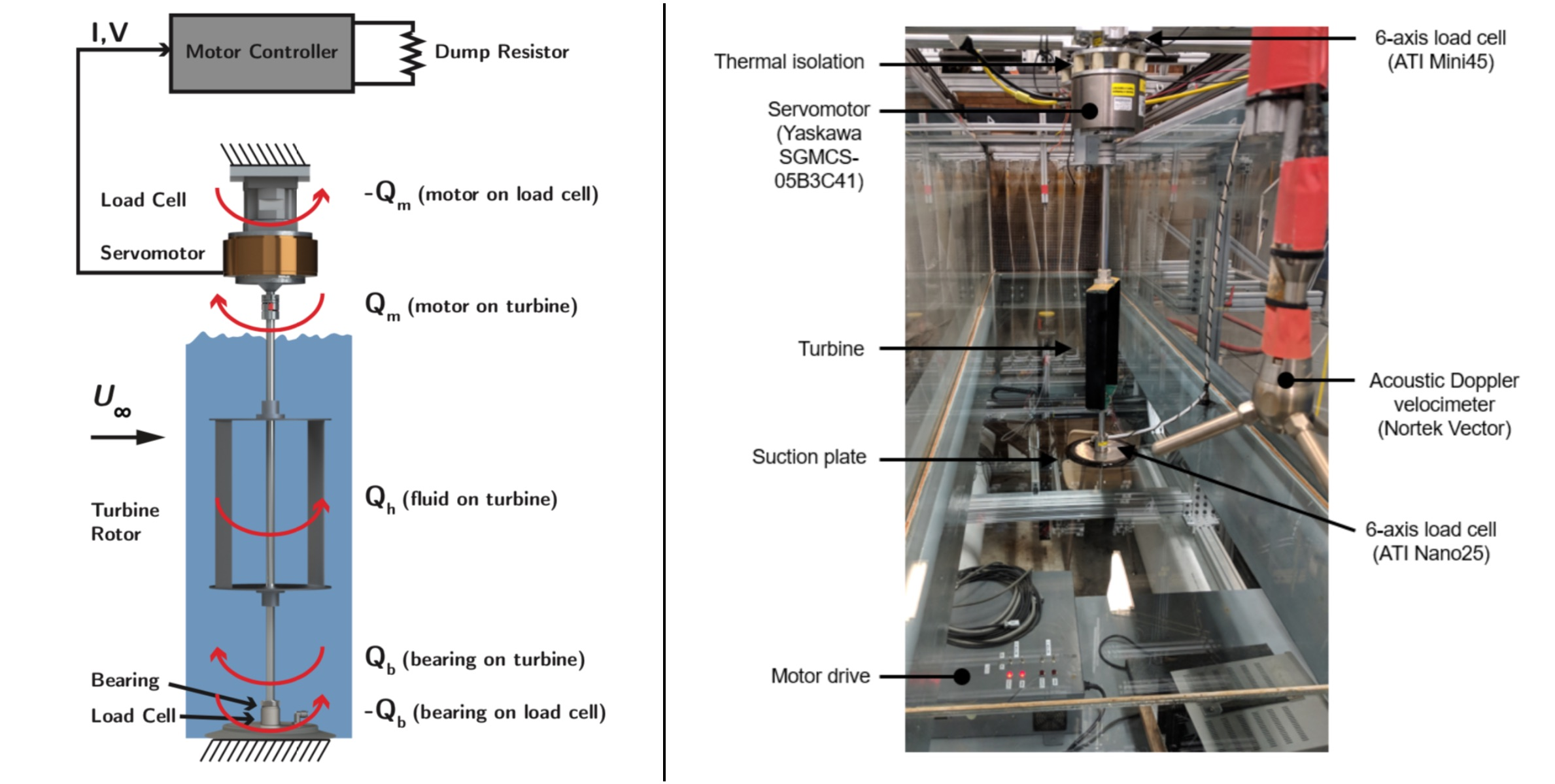 Annotated images of the experimental apparatus shown schematically and as implemented (minus water).