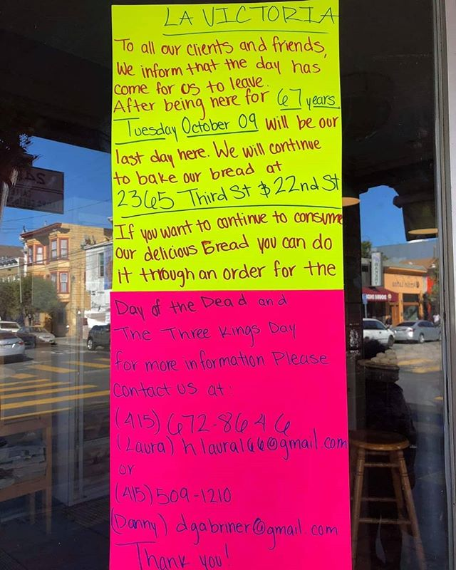 Another #SanFrancisco legendary institution in the #missiondistrict falls to gentrification. FUCK THE GENTRIFIERS. Get LA Victoria pan dulce while you can.