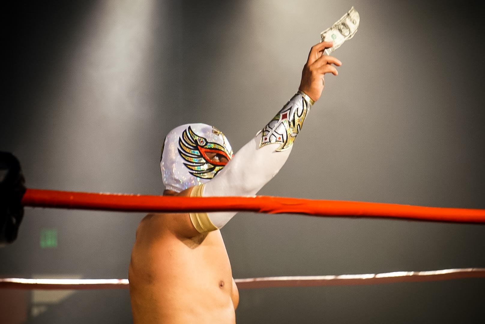 Scenes from Caristico vs. Dragon Lee in Pro Wrestling Revolution in San Jose.