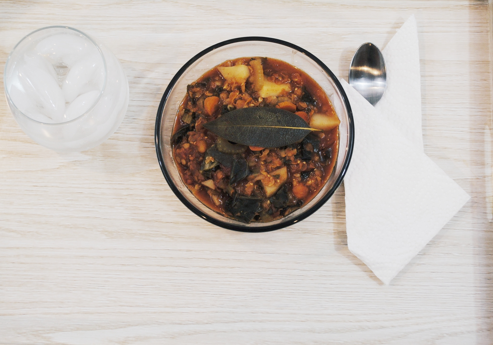Spicy Garden Vegetable Lentil Stew   (Lentil beans, diced tomatoes, rainbow carrots, celery, onion, potatoes, kale and collard greens)