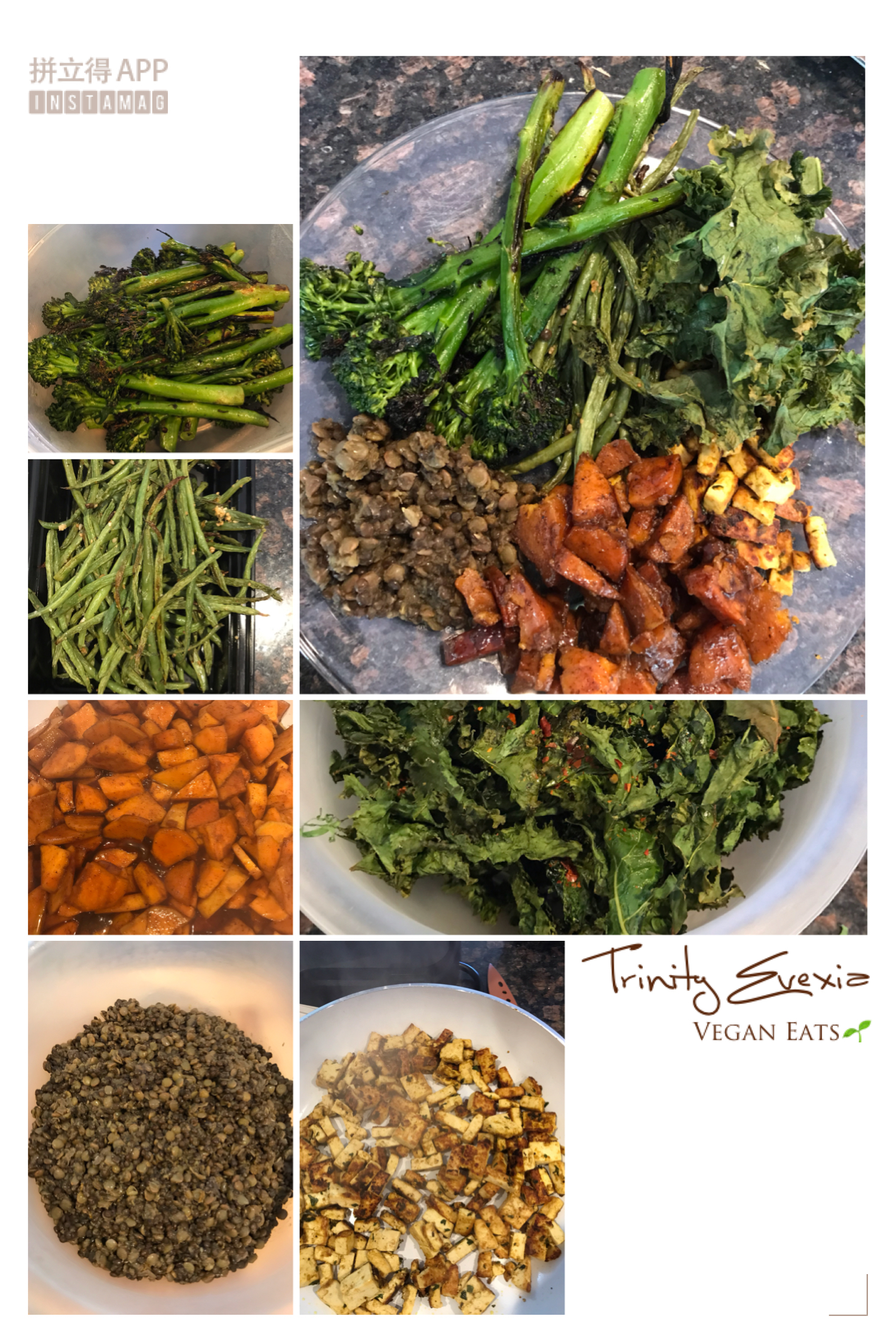 (Candied (vegan) yams, black and green lentils, stir fry tofu, pan seared broccolini, kale chips and roasted french style green beans)