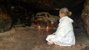 annie meditating in cave