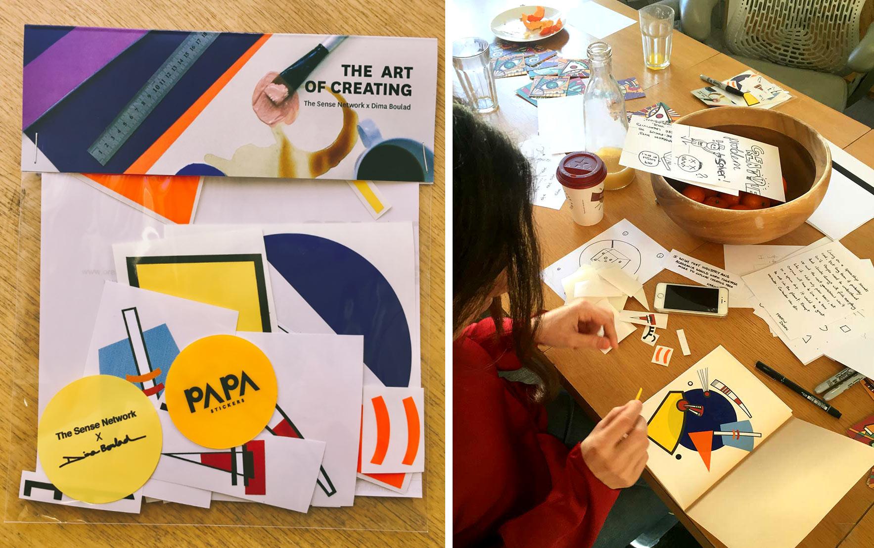 Talia assembling her sticker.
