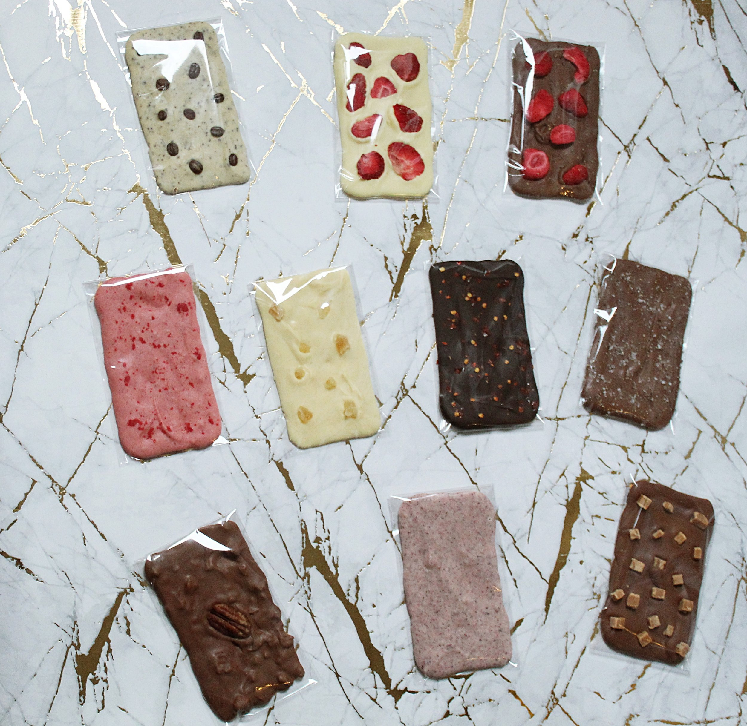 Our innovative new collection of handmade and hand poured chocolate bars are available in over 25 flavour and chocolate type combinations. Flavours vary from classic combinations to some more adventurous!
