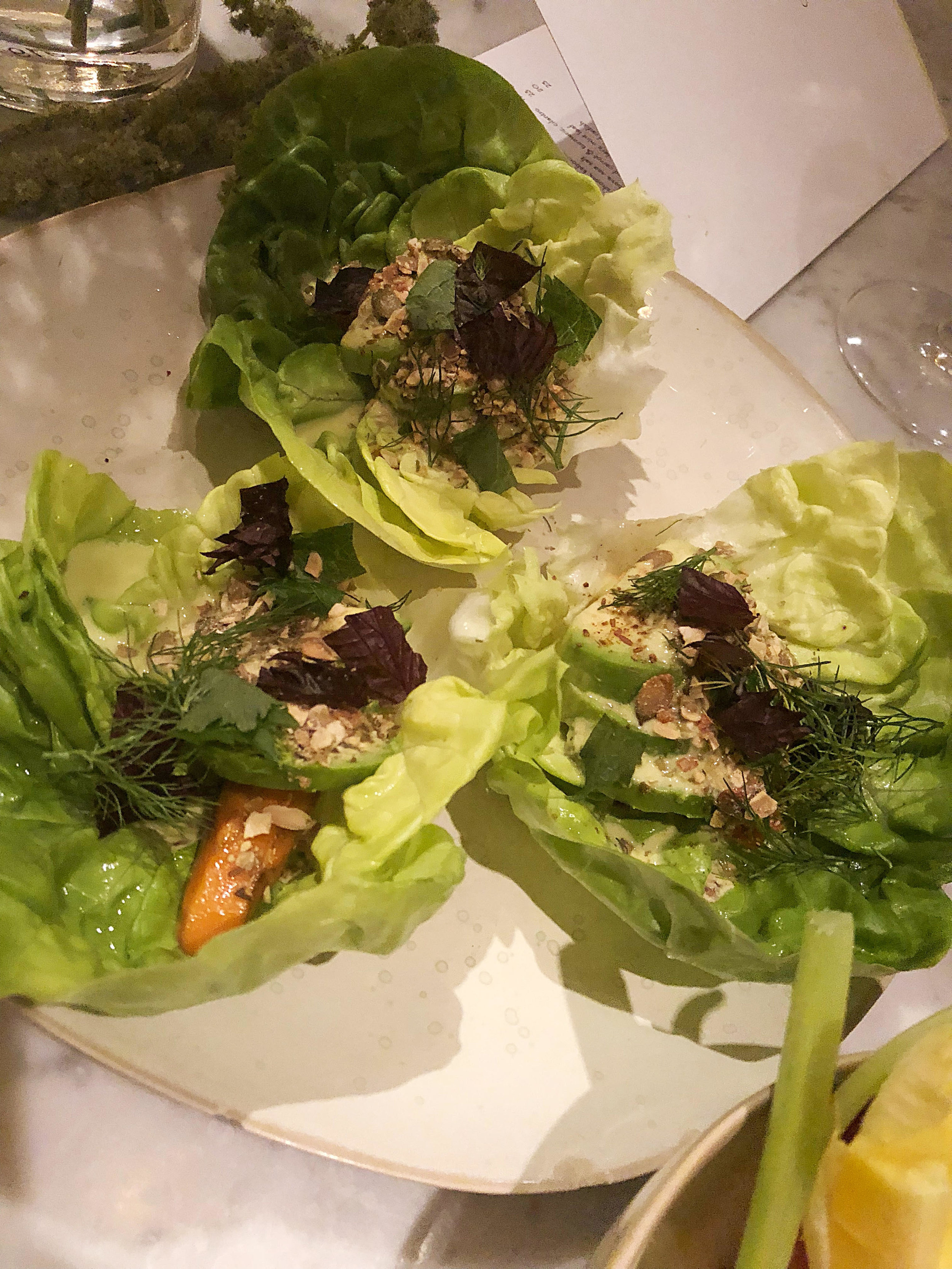 Avocado lettuce cups: toasted cumin, serrano and lime, pepitas.