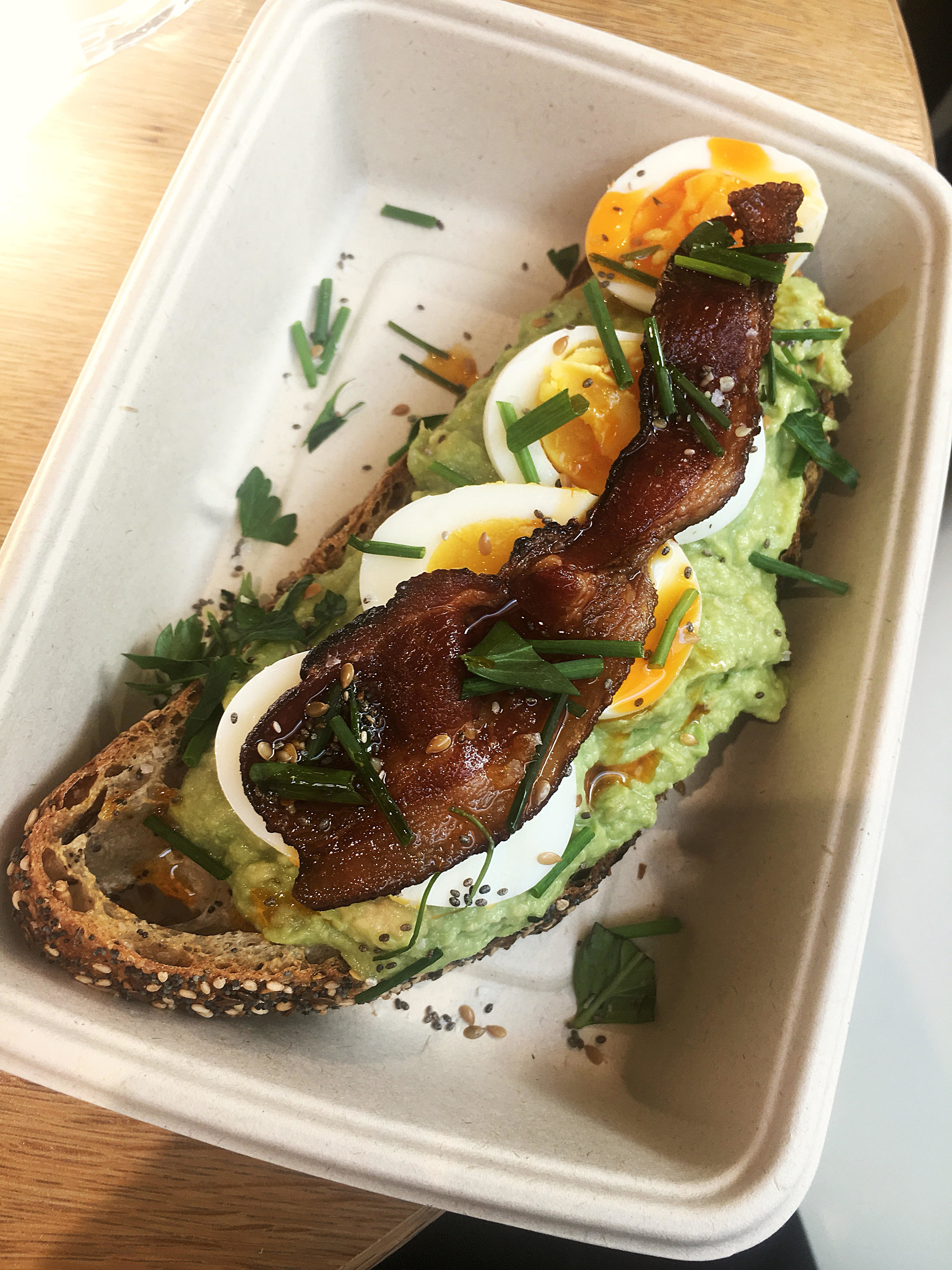Avocado crush + egg + bacon