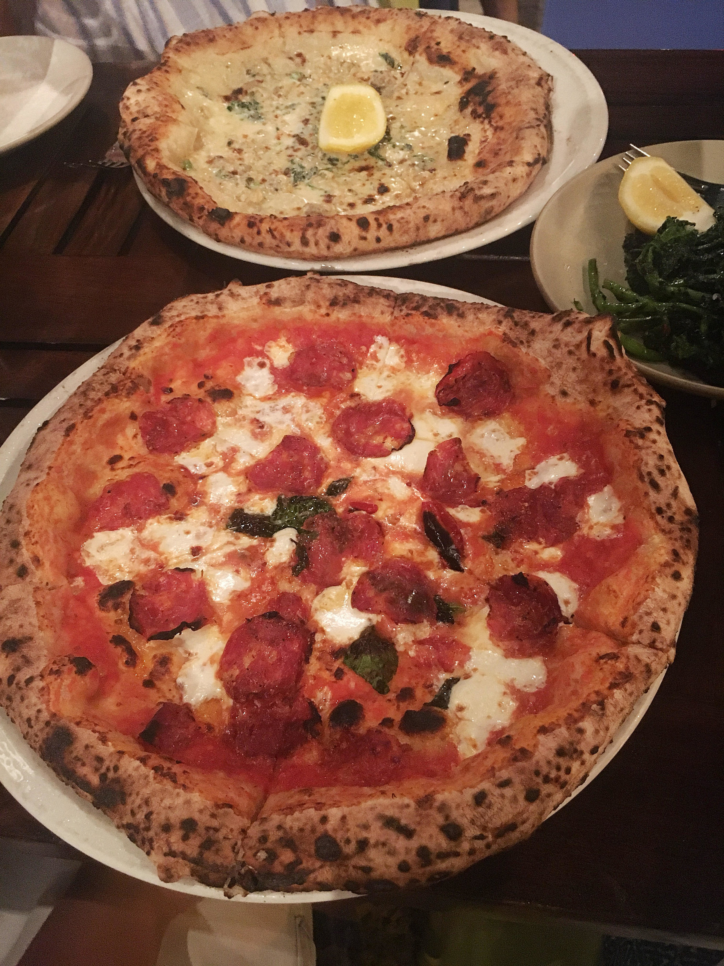 Diavola and little neck clam pizzas