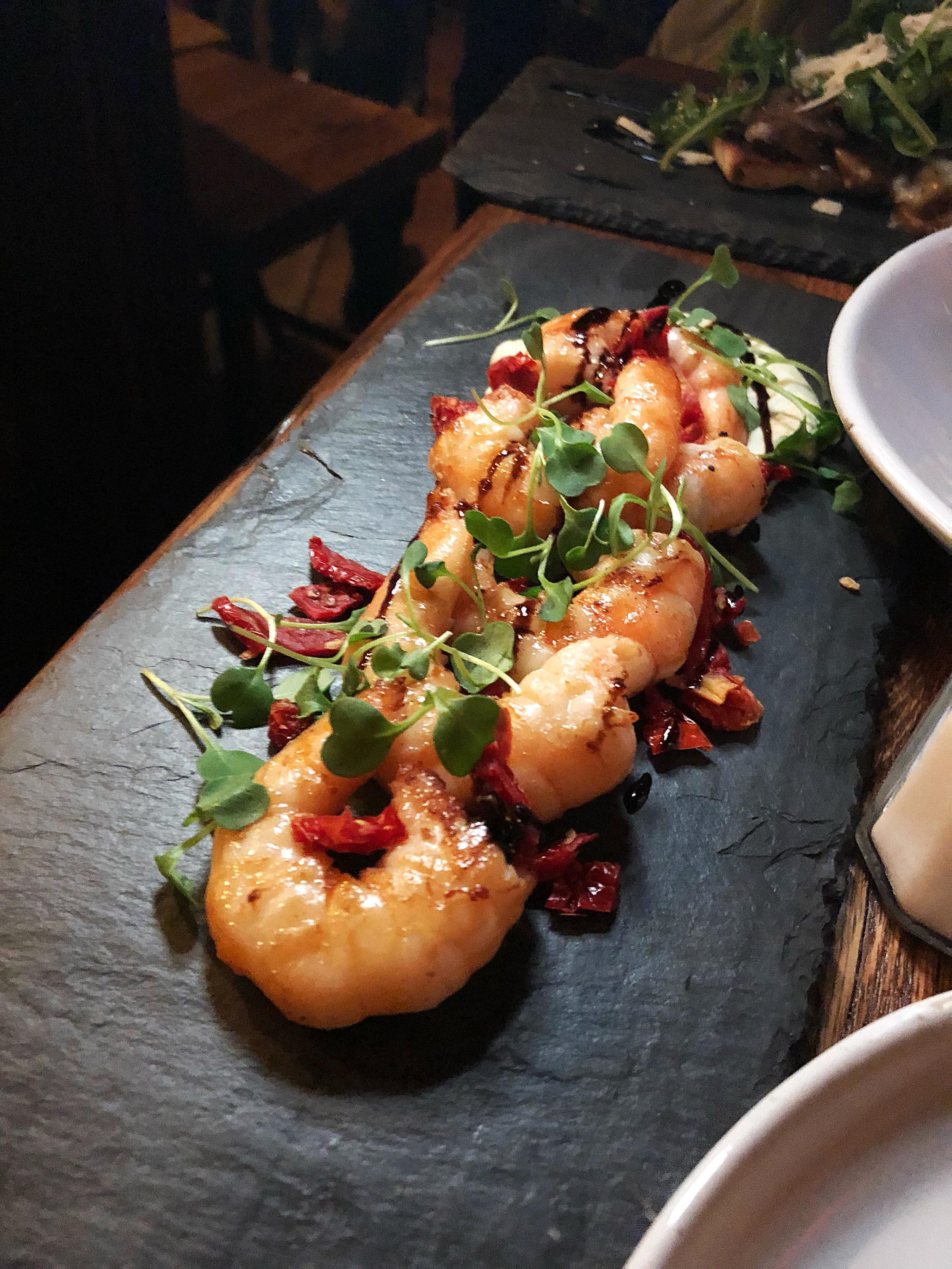 Grilled shrimp, Provence herbs, sundried tomatoes, tarragon aïoli