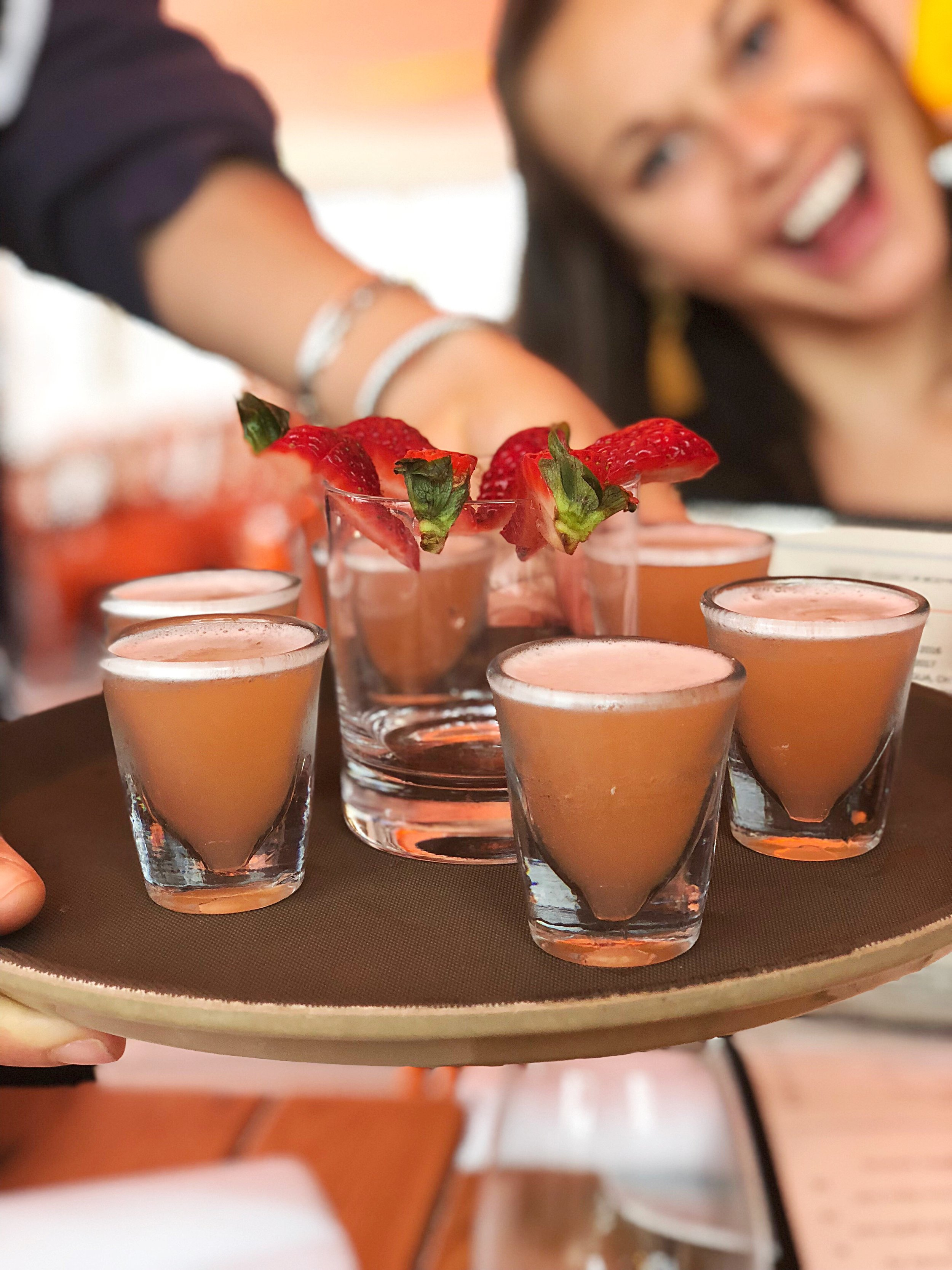 Chilled strawberry and jalapeno infused tequila shooters