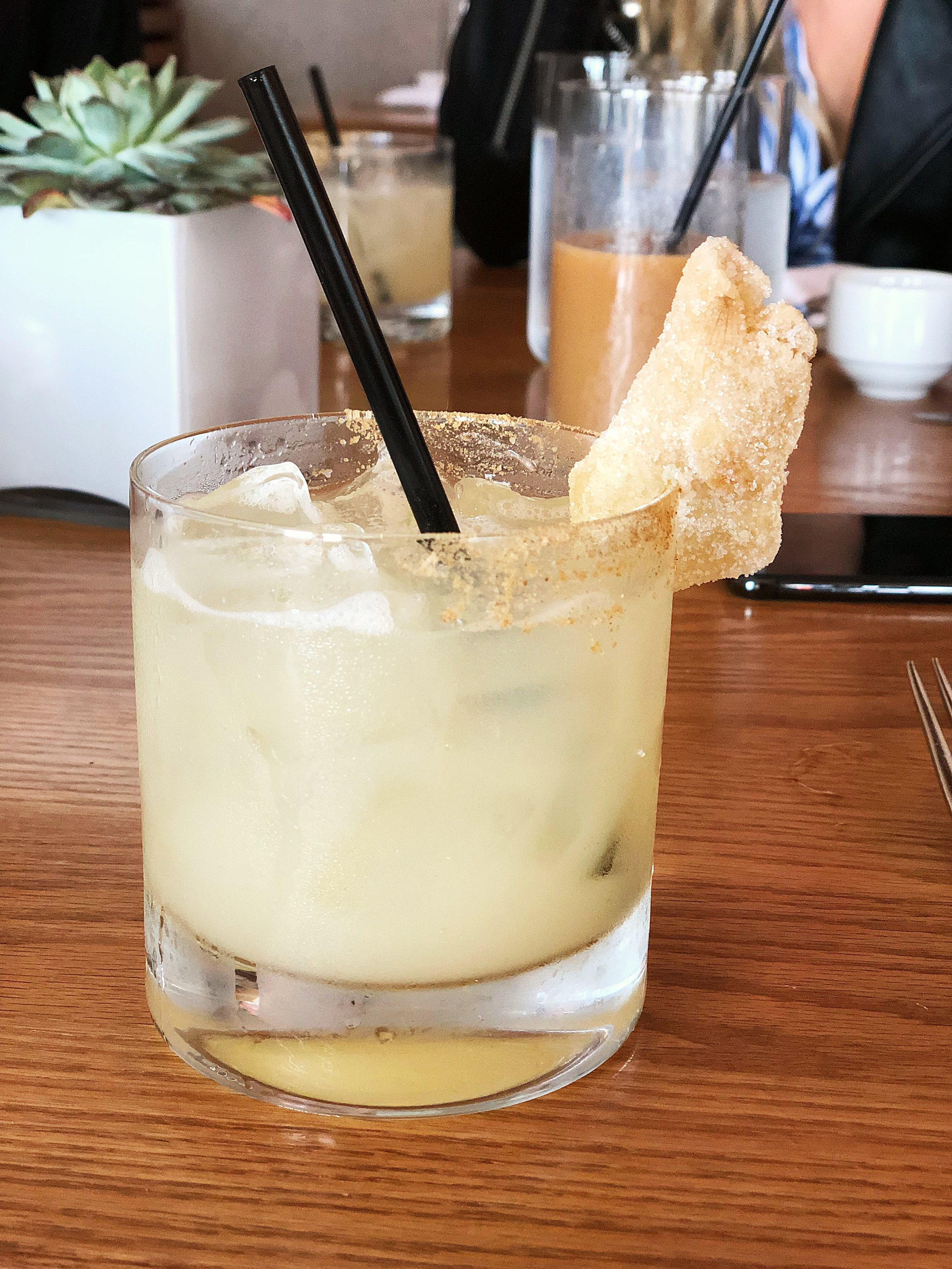 Ginger margarita: ginger infused tequila, lime, cointreau