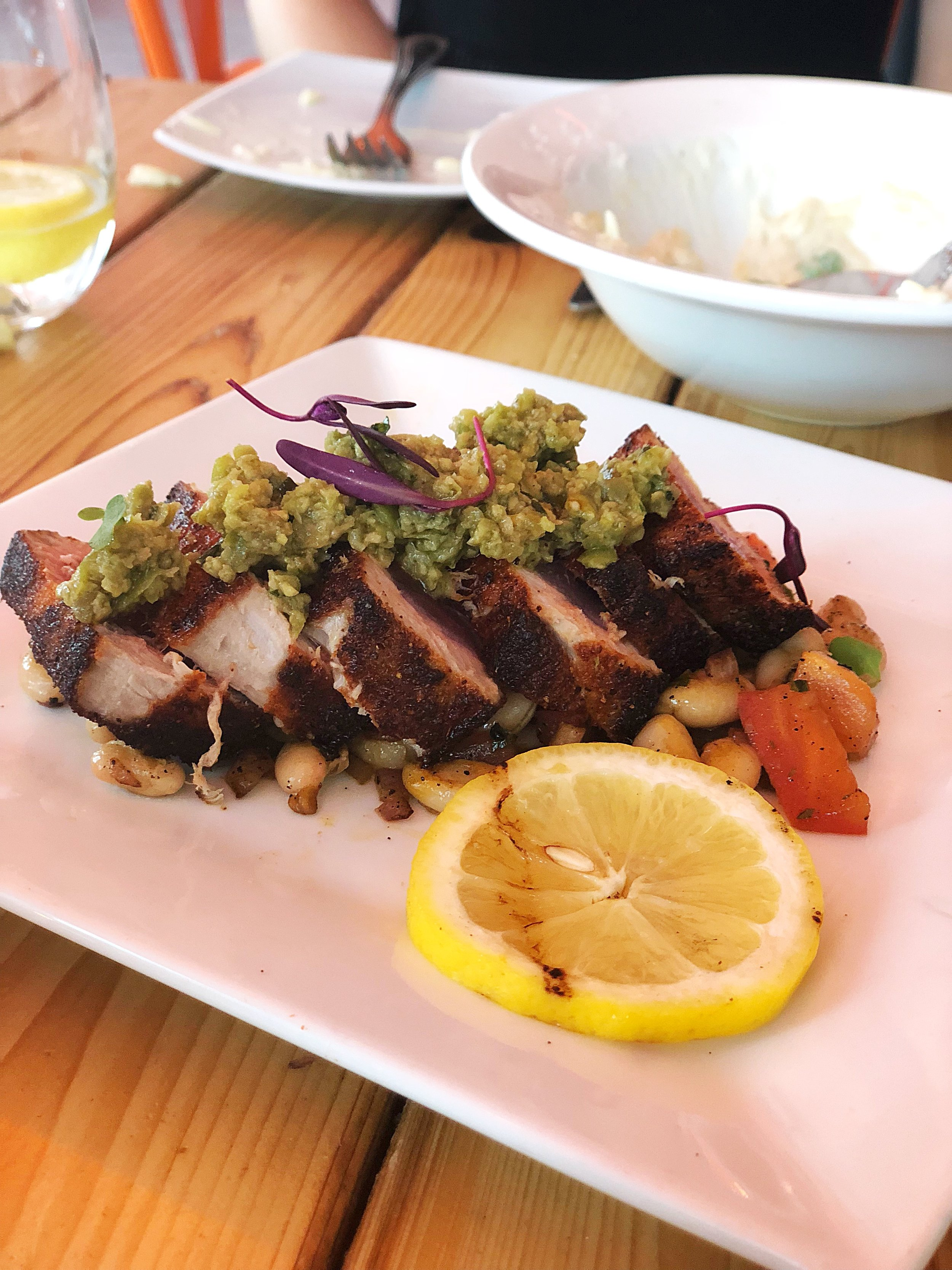 Blackened ahi tuna with white beans and green olive tapenade