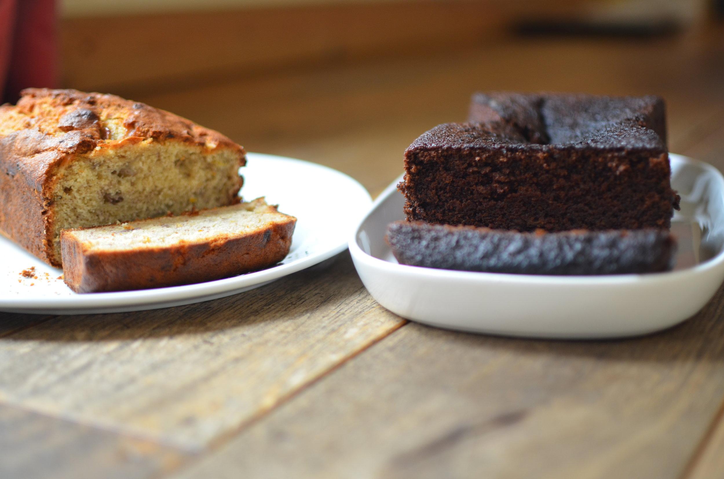 Delia Smith's Banana and Walnut Loaf and Nigella Lawson's Dense Chocolate Loaf Cake