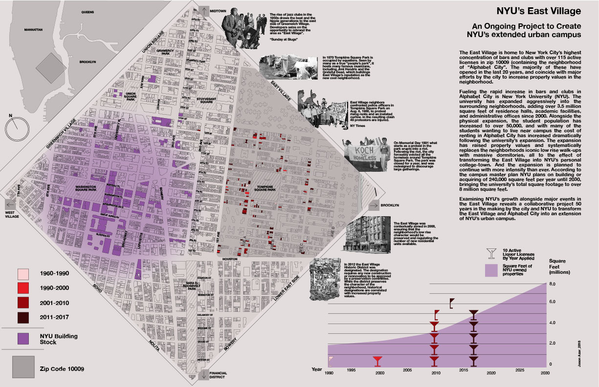 NYU's Evening Campus   GISCI Map Competition - New York - 2018  Finalist in the GIS Certification Institute 2018 map contest. The map details the spread of New York University into the East Village, the accompanying dramatic increase in bars and nightclubs in the neighborhood, and major public protests and events corresponding to key points of NYU's expansion.