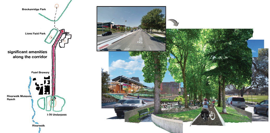 The Broadway Urban Trail   BYOBroadway Design Competition - San Antonio, TX - 2016  Concept for a linear park on a major surface street parallel to the San Antonio Riverwalk.