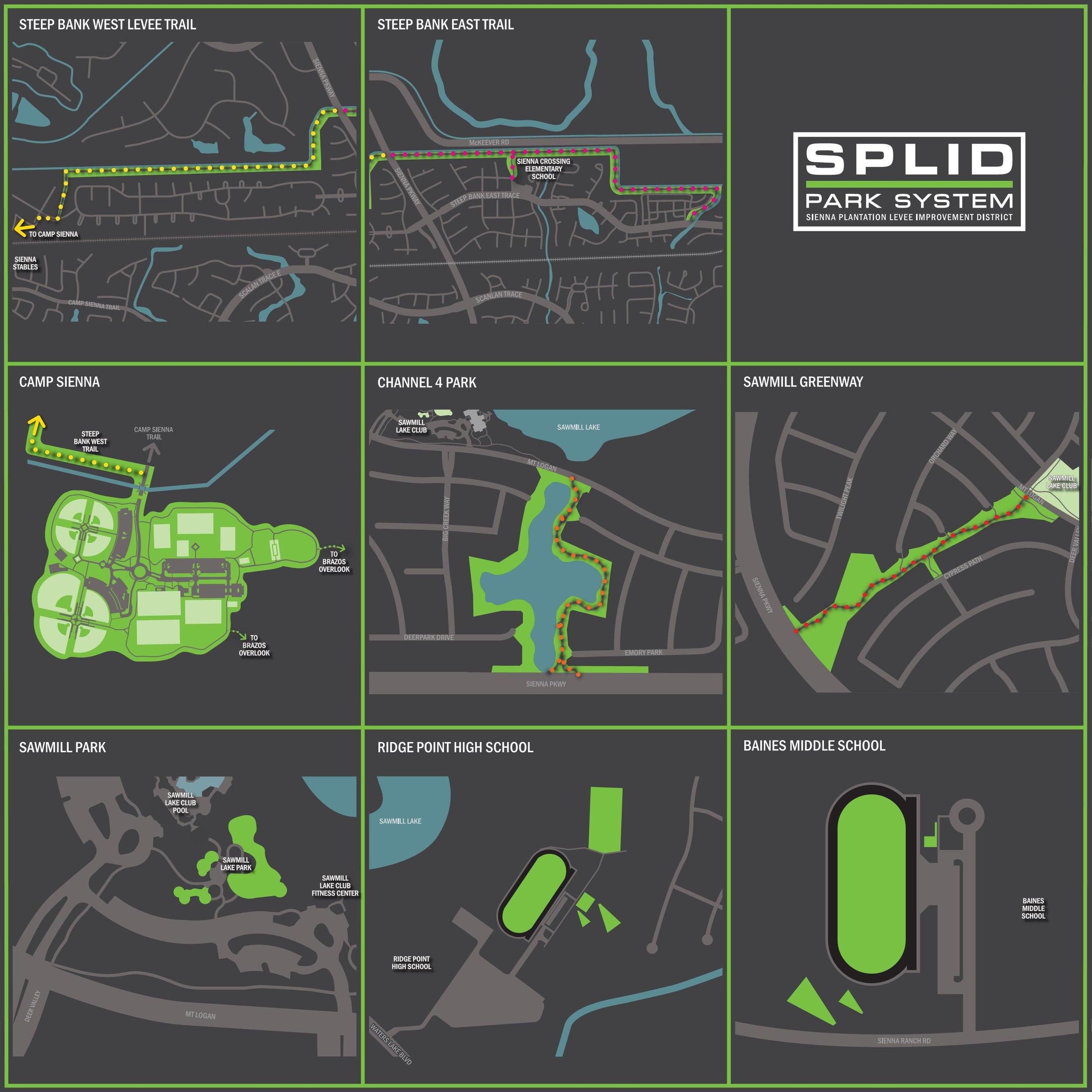 Sienna Plantation Levee Improvement District Web Map  TBG Partners - Missouri City, TX  Design team member for the development of a series of web maps for the parks under the purview of the Sienna Plantation Levee Improvement District.