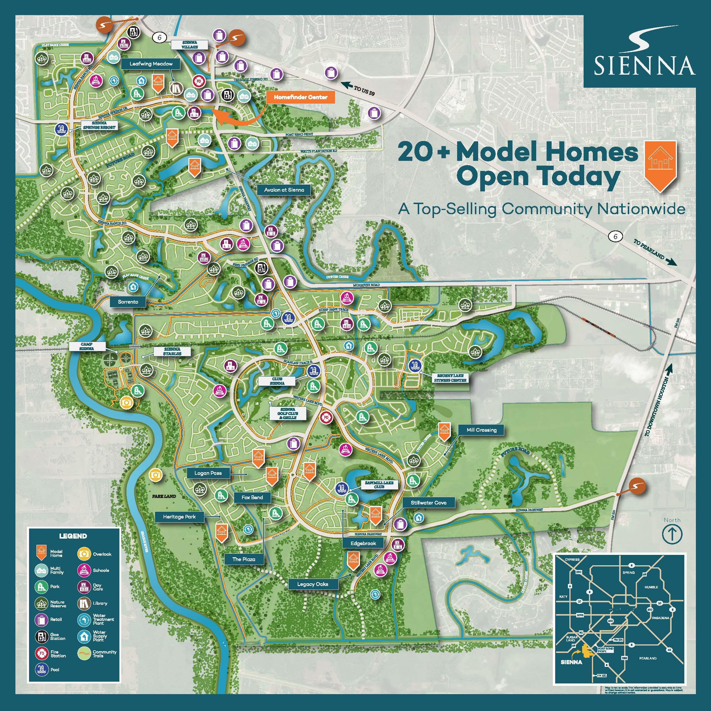 Sienna Plantation Community Marketing Map  TBG Partners - Missouri City, TX  Lead design for development of a community map for Johnson Development Corporation and the Sienna Plantation Marketing team.