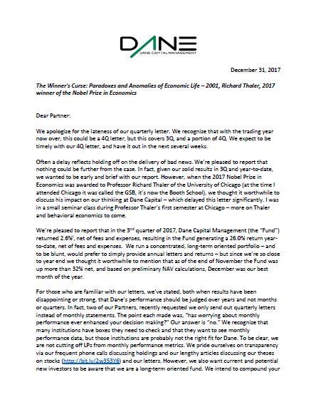 Q3 2017 Letter