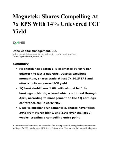 Magnatek Analysis 6/29/15
